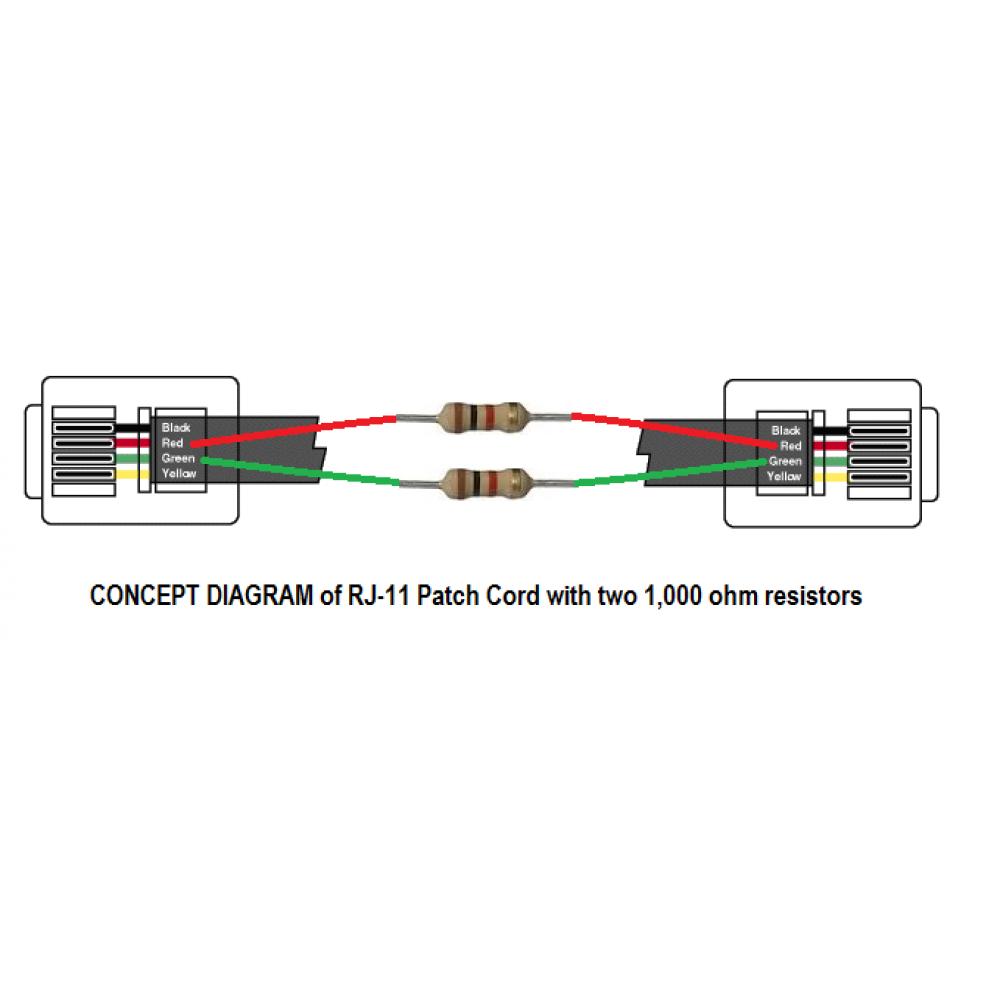 1k Resistor Rj11 Patch Cord