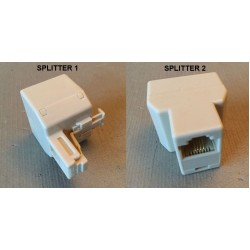 Set of Two (2) RJ-11/RJ-14 Modular Phone Line 1 + Line 2 Splitters Couplers