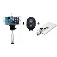 Selfie Stick - Shutter Remote - 3 Clip-on Camera Lens Set