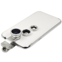 Clip-On Lens 3-in-1 for Cell Phones & Tablets w/ Cameras